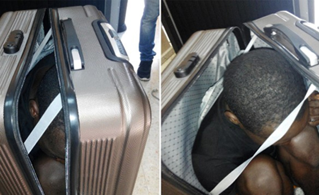 המהגר התגלה במזוודה (צילום: CNN)