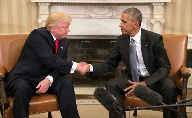 פגישה ראשונה בין ברק אובמה לדונאלד טראמפ (צילום: חדשות 2)