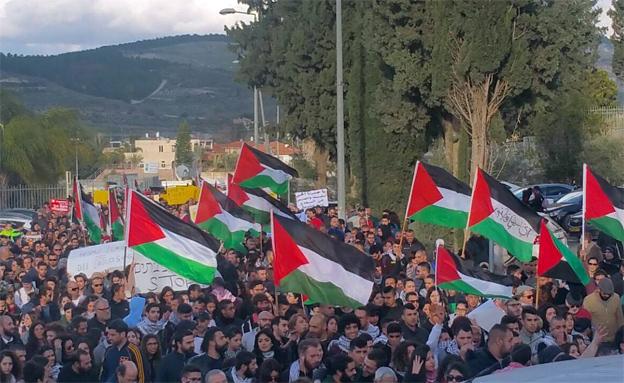 דגלי פלסטין הורמו בוואדי ערה