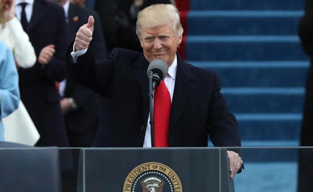 התייחסות ראשונה מאז ההשבעה. טראמפ (צילום: רויטרס)