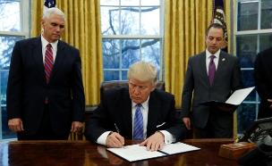 בחדר הסגלגל בזכותה. הנשיא טראמפ (צילום: רויטרס)