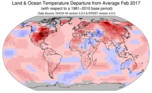 התחממות גלובלית רבעון ראשון 2017 (צילום: NASA)