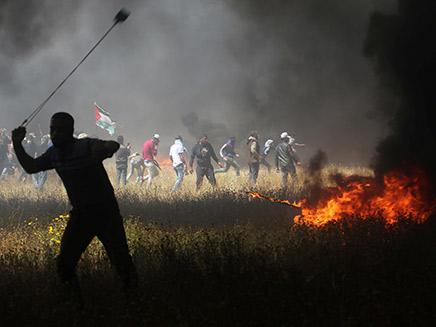הפגנה פלסטינית בגבול עזה. ארכיון