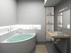 אמבטיות-חדר אמבטיה אפור-לבן,אמבטיה מלאה מים