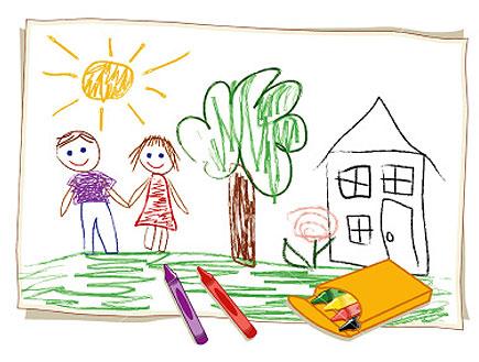 ציור של ילדים וברקע בית וצבעים (צילום: istockphoto)
