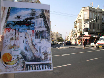 ציור על רקע רחוב תל אביבי (צילום: איל שפירא)