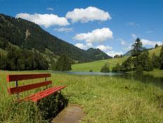 ספסל אדום על גדת נהר באוסטרליה (צילום: istockphoto)