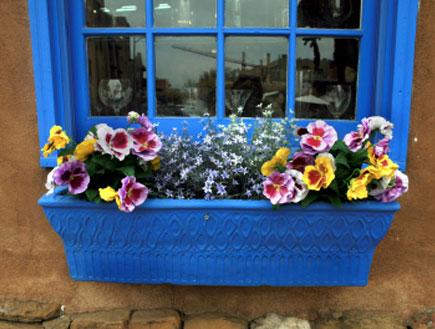 חלון כחול עם אדנית פיקטים כחולה מלאה פרחים (צילום: lillisphotography, Istock)