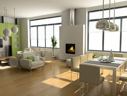 דירת סטודיו מעוצבת בירוק לבן, פרקט, שולחן, ספות (צילום: vicnt, Istock)