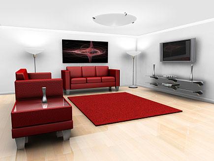 פינת ישיבה עם פלזמה, ספות ושטיח אדומים ופרקט (צילום: Kirsty Pargeter, Istock)