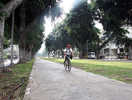 רוכב אופניים בשדרות רוטשילד בתל אביב (צילום: עודד קרני)