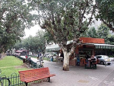 ספסל וקיוסק בשדרות רוטשילד בתל אביב (צילום: עודד קרני)