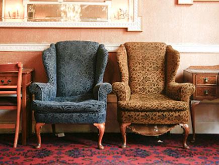 כורסא חומה וכחולה על שטיח אדום עם שידות ונברשות עת (צילום: istockphoto)