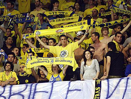 אוהדים, צהובים, מכבי תל אביב, כדורסל ישראלי (צילום: עודד קרני)