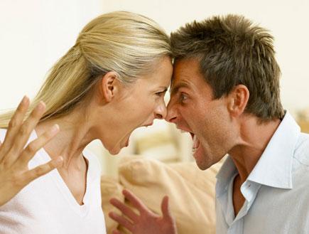 ויכוח- בני זוג עומדים צמודים וצועקים אחד על השני (צילום: אור גץ)