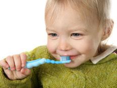 תינוק מצחצח את שיניו (צילום: jupiter images)