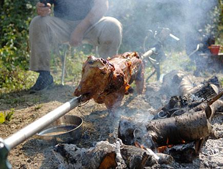 שיפוד בשר מעל מדורה (צילום: istockphoto)