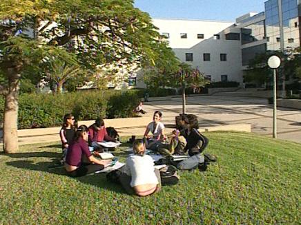 סטודנטים יושבים על הדשא (צילום: חדשות)