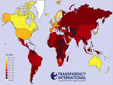 מפת השחיתות העולמית (צילום: חדשות)