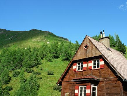 בקתת עץ וברקע הר ירוק (צילום: istockphoto)