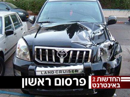 """הרכב הפוגע בתאונת ה""""פגע וברח""""  (צילום: חדשות)"""