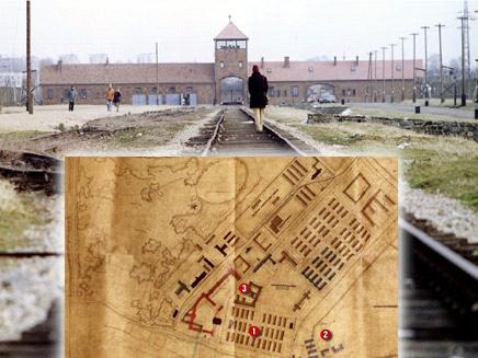 תכניות אושוויץ על רקע המחנה היום  (צילום: אתר הגרמני bild.de ורויטרס)