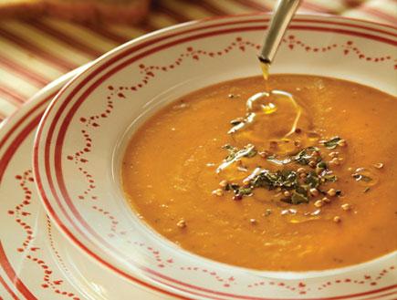 מרק קרם שעועית עם נענע ועדשים- בוקר צהריים ערב