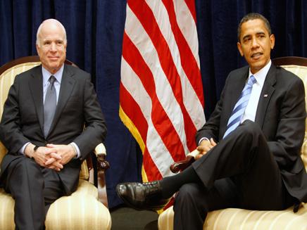 אובמה ומקיין, אתמול בבית הלבן (צילום: רויטרס)