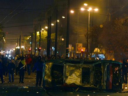 מתפרעים באתונה, הלילה (תמונת AVI: חדשות)
