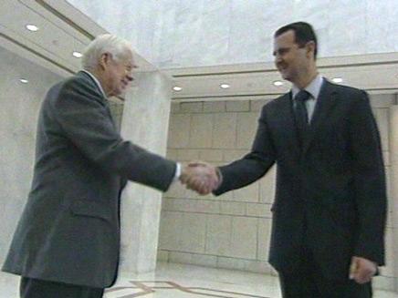 קרטר ואסד בפגישה בדמשק (צילום: חדשות2)