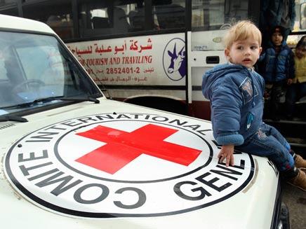 הצלב האדום מעביר ביקורת (צילום: רויטרס)
