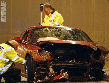 הרכב של רונאלדו לאחר תאונת דרכים (צילום: רויטרס)