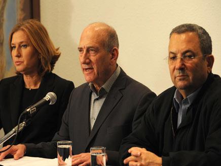 אולמרט במסיבת עיתונאים עם לבני וברק (צילום: חדשות 2)