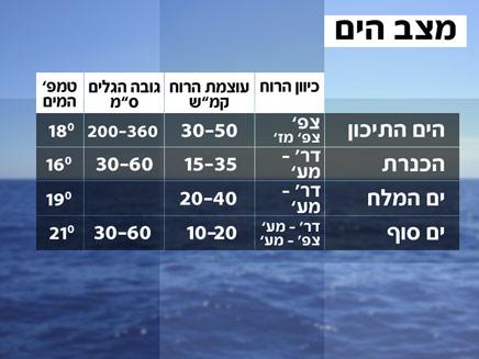 מצב הים והגלים (צילום: חדשות 2)