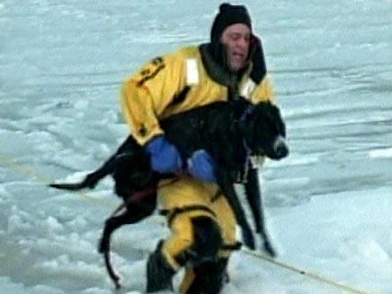 חילוץ כלב מאגם קפוא. אילוסטרציה (צילום: חדשות 2)