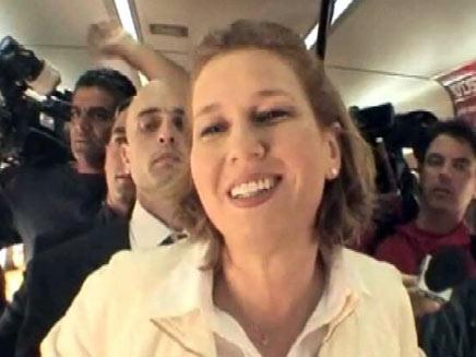 ציפי לבני ברכבת, היום (צילום: חדשות 2)