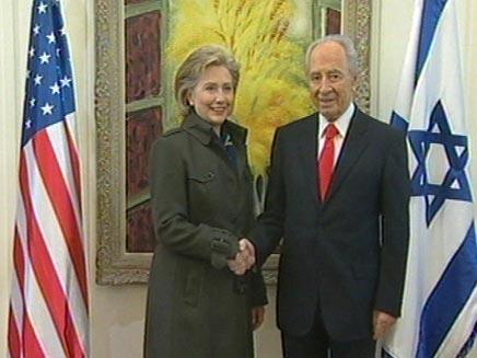 שמעון פרס והילרי קלינטון בבית הנשיא (חדשות 2) (צילום: חדשות 2)