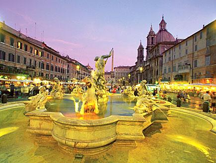 רומא: מזרקת ארבעת הנהרות של ברניני (צילום: Medioimages/Photodisc, GettyImages IL)
