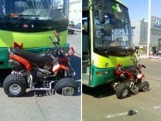 תאונת דרכים - אוטובוס פגע בטרקטורון (צילום: חדשות 2)