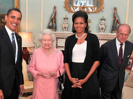 אובמה נפגש עם מלכת אנגליה (צילום: רויטרס)