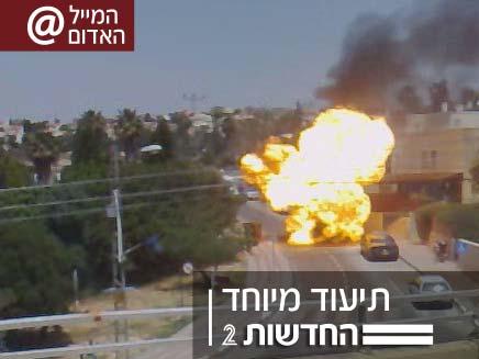 פיצוץ גז במכונית באלפי מנשה - גל גובסי (צילום: חדשות 2)