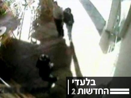 שוד בנק בחיפה שתועד במצלמה (צילום: חדשות 2)