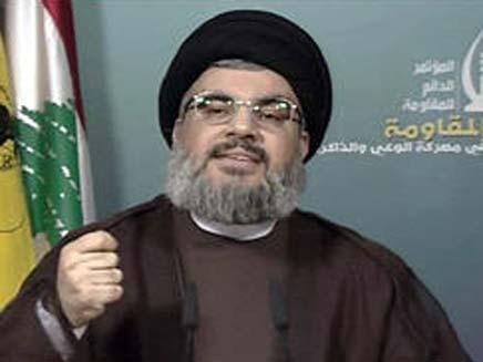 """""""לבנון פוגעת בעצמה"""". נסראללה (צילום: טלוויזיה איראנית)"""