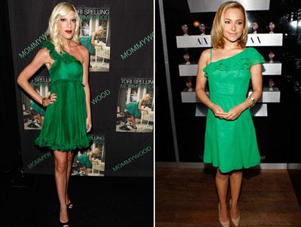 קולאז' טרנד שמלה ירוקה (צילום: getty images)