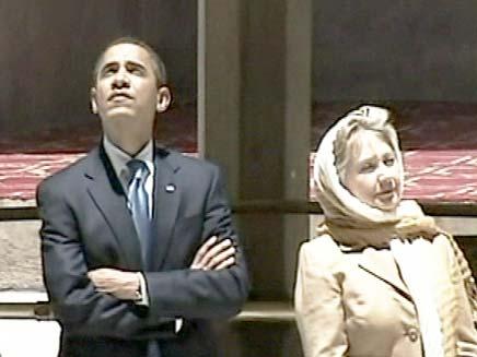 אובמה והילרי מסיירים בקהיר (צילום: רויטרס)