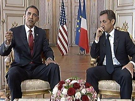 אובמה וסרקוזי נפגשים בצרפת (צילום: AP)