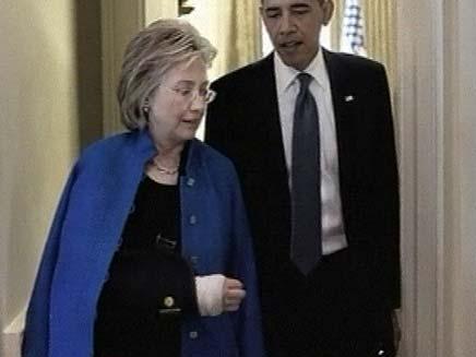 ברק אובמה עם הילרי קלינטון (צילום: חדשות 2)