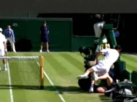 שחקן טניס שכח לעצור (צילום: חדשות 2)