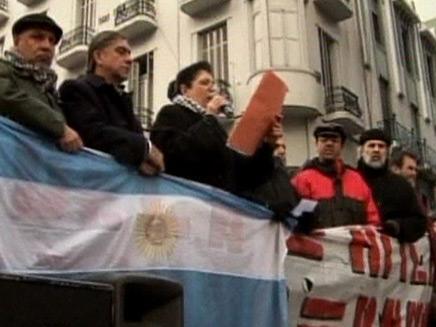 הפגנה נגד אביגדור ליברמן בארגנטינה (צילום: חדשות 2)