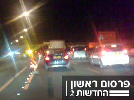 פקק בכביש 6 (צילום: חדשות 2)